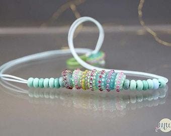Handmade lampwork glass beads- statement necklace-artist handmade-dot beads-spring green and pink- glass jewelry-sra- Manuela Wutschke