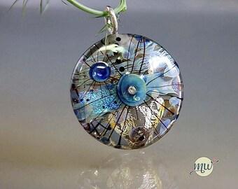 Blue-Gray-handmade muranoglass bead- Artist Glass- Lampwork Bead Pendant-Glass and Silver-handmade by Glassartist Manuela Wutschke