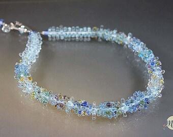 Handmade lampwork glass beads- statement necklace-artist handmade-dot beads-transparent- sparkling- glass jewelry-sra- Manuela Wutschke