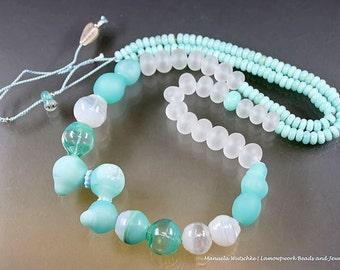 Artist Glass Necklace - Hollow Lampwork Beads and Silver - Winter - handmade by Manuela Wutschke