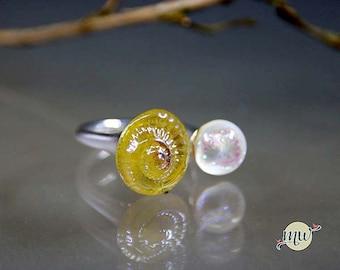 Silver and Glass Lampwork Ring- Gold-dichroic white- oceanring-seashell- Minimalist-Statement handmade artist Manuela Wutschke