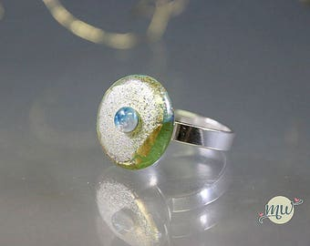 Silver and Glass Lampwork Ring- Gold-Silver-Blue- Minimalist-Statement handmade artist Manuela Wutschke