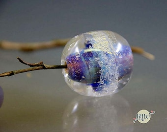 Murano Glass Lampwork Bead, Aquarium, Clean Air, Gold, Round Focal, handmade by glassartist Manuela Wutschke, silverblue