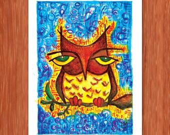 """Sleepy Brown Owl 5"""" x 7"""" Original Watercolor Painting"""