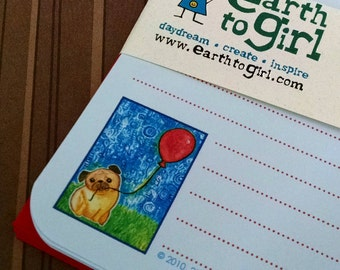 Pug & Red Balloon Stationery Set - Powder Blue Paper with Red Envelopes