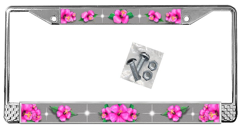Hot Pink Hibiscus Flowers On Silver Backdrop License Plate Etsy
