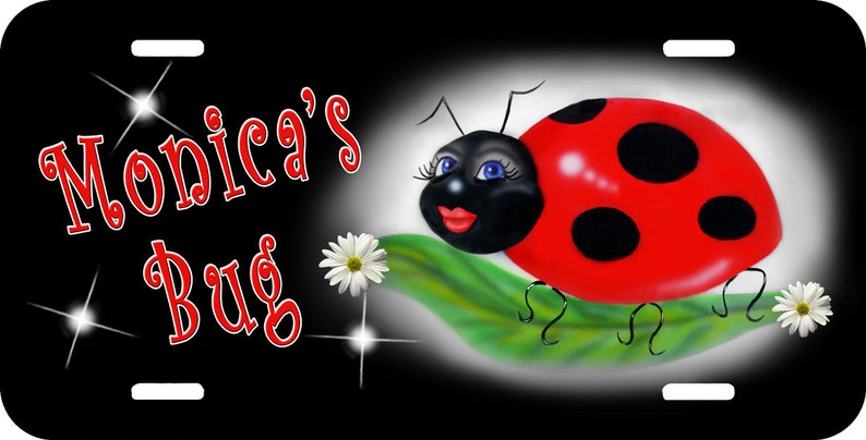 Ladybug Sweetie On Black Black Auto License Plate Personalize Any Name-Text