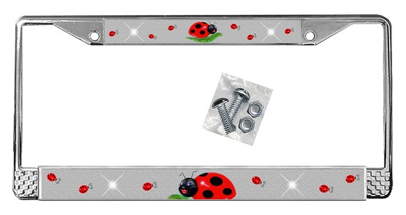Ladybugs Flowers Auto License Plate Personalize any Name or Text Many Colors