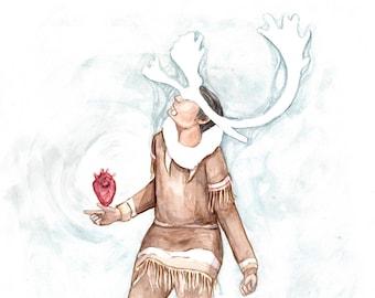 Caribou Chief - Alaska Native Inupiaq watercolor painting