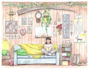 Aana and Tatta's House - Alaska Native Inupiaq watercolor painting