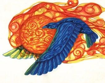 Raven Steals the Sun - Alaska Native Inupiaq drawing