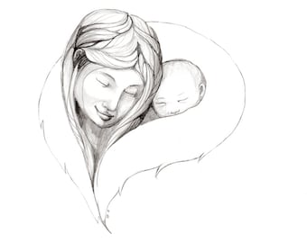 Mother and Child - Alaska Native Inupiaq Drawing