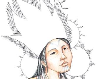 Her Crown - Alaska Native Inupiaq Drawing