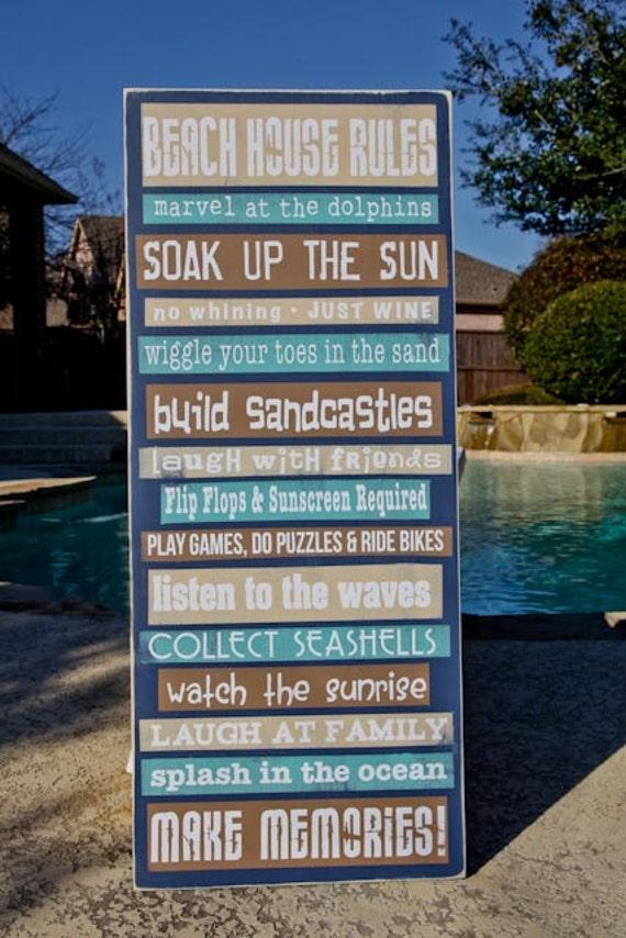 367c5eb137e Custom Personalized Beach House Rules Pool Rules 15x36 | Etsy