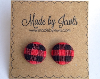 Black Friday Sale Red and Black Buffalo Check Plaid Fabric Covered Button Hypoallergenic Post Stud Earrings 10mm
