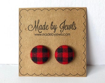 Red and Black Buffalo Plaid Check Fabric Covered Button Hypoallergenic Post Stud Earrings 10mm 1/2 inch