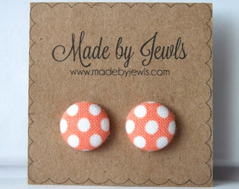 Peaches and Cream Peach and White Polka Dot Handmade Fabric Covered Hypoallergenic Button Post Stud Earrings 10mm