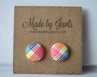 Rainbow Plaid Handmade Fabric Covered Hypoallergenic Button Post Stud Earrings 10mm