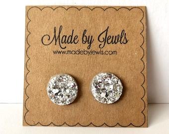 Bright Silver Faux Druzy Stone Handmade Hypoallergenic Button Post Stud Earrings 12mm