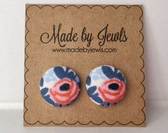 Rifle Paper Co Floral Spring Flowers Handmade Fabric Covered Hypoallergenic Button Post Stud Earrings