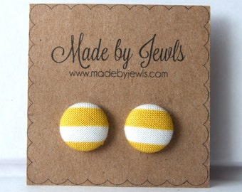 Chunky Mustard Stripe Handmade Fabric Covered Hypoallergenic Button Post Stud Earrings 10mm