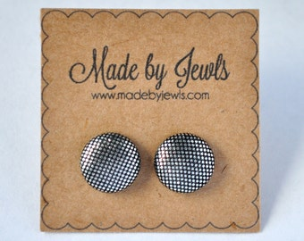 Silver Metallic Handmade Fabric Covered Hypoallergenic Button Post Stud Earrings 10mm
