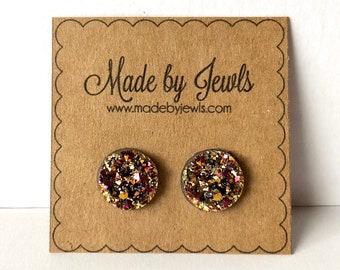 Rose Gold Faux Druzy Stone Handmade Hypoallergenic Button Post Stud Earrings 12mm