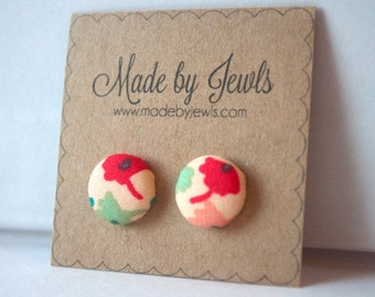 Red Pink and Green Pastel Colored Floral Handmade Fabric Covered Hypoallergenic Button Post Stud Earrings 10mm
