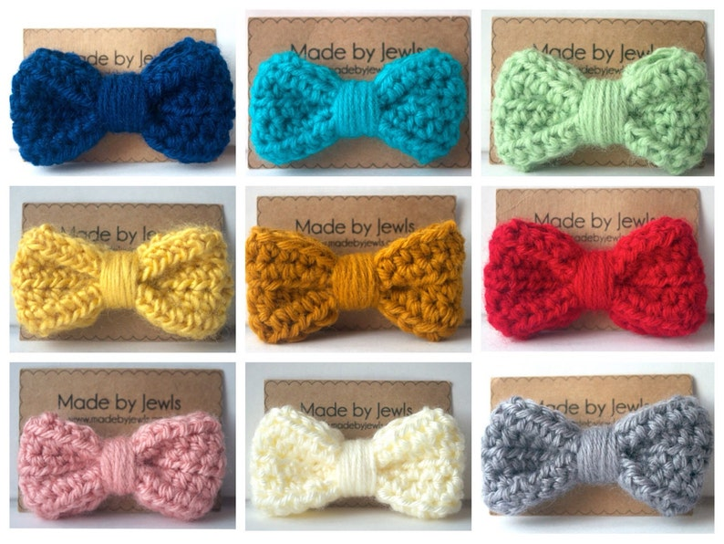 Crocheted Hair Bow  You Choose Color  Buy 3 get 1 FREE image 0