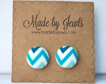 White Teal and Aqua Chevron Wave Handmade Fabric Covered Hypoallergenic Button Post Stud Earrings 10mm