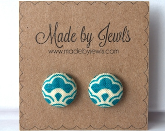 Aqua Blue and White Wave Handmade Fabric Covered Hypoallergenic Button Post Stud Earrings 10mm