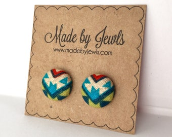 Aztec Geometric Multicolored Red Teal Olive Green Colorful Handmade Fabric Covered Hypoallergenic Button Post Stud Earrings