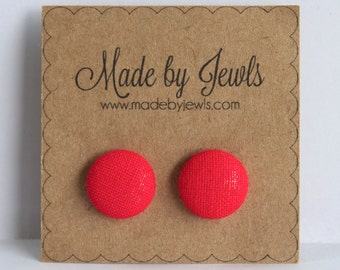 Bright Poppy Red Handmade Fabric Covered Hypoallergenic Button Post Stud Earrings 10mm