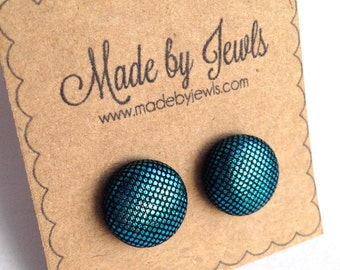 Mermaid Tail Metallic Blue Handmade Fabric Covered Hypoallergenic Button Post Stud Earrings 10mm
