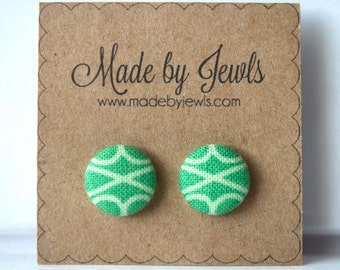 Green and White Geometric Triangle Handmade Fabric Covered Hypoallergenic Button Post Stud Earrings 10mm