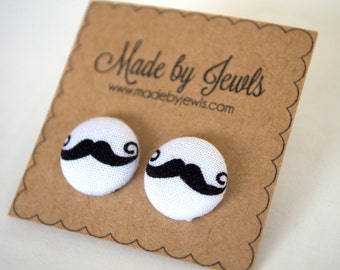 Black Mustache Handmade Fabric Covered Hypoallergenic Button Post Stud Earrings 10mm