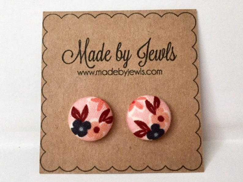 Pink Navy Blue and Bergundy Red Floral Handmade Fabric Covered image 0