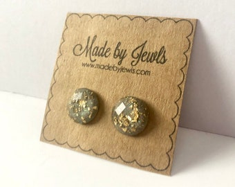 Gray and Gold Leaf Faceted Stud Post  Handmade Hypoallergenic Earrings 12mm