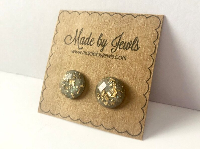 Gray and Gold Leaf Faceted Stud Post  Handmade Hypoallergenic image 0