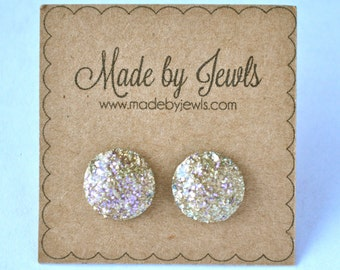 Rose Gold Faux Druzy Stone Handmade Hypoallergenic Button Post Stud Earrings 10mm
