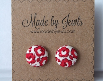 Crimson Red and White Red Rose Handmade Fabric Covered Hypoallergenic Button Post Stud Earrings 10mm