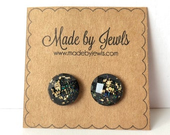 Black and Gold Leaf Faceted Stud Post  Handmade Hypoallergenic Earrings 12mm