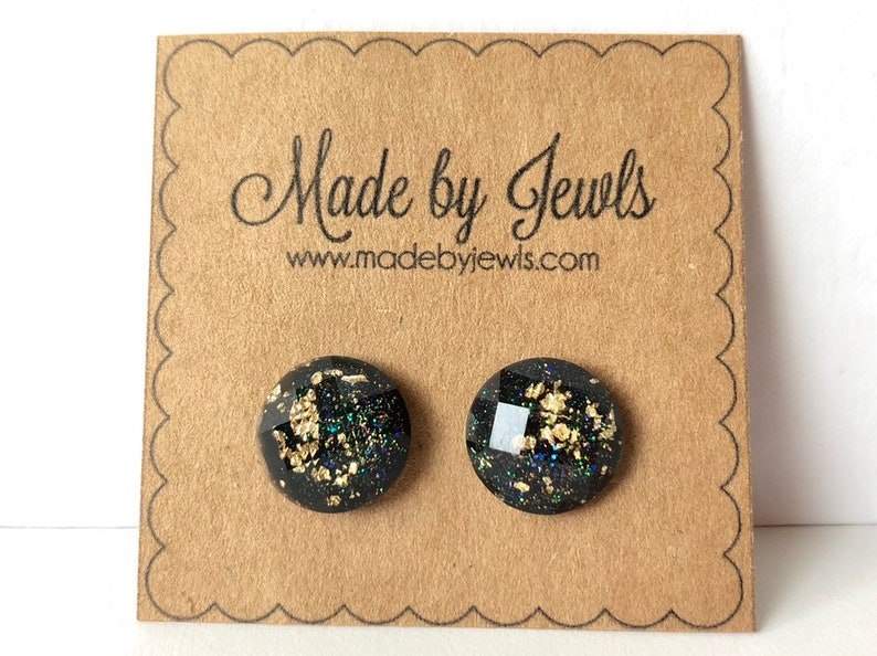 Black and Gold Leaf Faceted Stud Post  Handmade Hypoallergenic image 0