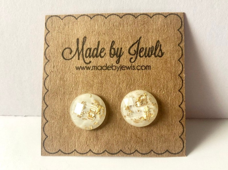 Cream and Gold Leaf Faceted Stud Post  Handmade Hypoallergenic image 0