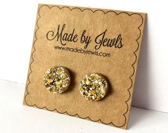 Bright Gold Faux Druzy Stone Handmade Hypoallergenic Button Post Stud Earrings 12mm