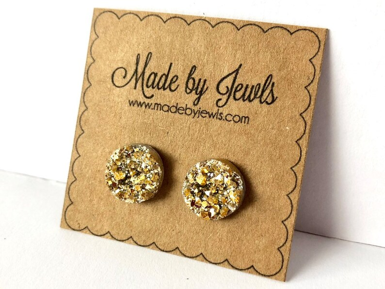 Bright Gold Faux Druzy Stone Handmade Hypoallergenic Button image 0
