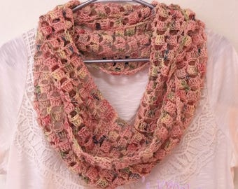 Block Stitch Vintage Peonies Infinity Scarf - Crochet Scarf, Infinity Scarf, Scarf, Cowl, Accessories, Winter wear, Crochet Accessories