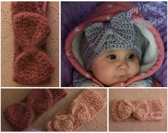 Crochet Infant/Children's Bow Headwrap, hat, child, toddler, winter, head warmer, headband, crochet, infant, baby gift