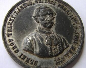 HUNGARY 1861 Count LASZLO TETEK memorial commemorative medallion White Metal Medal