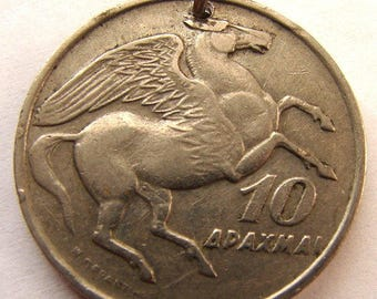 1973 GREECE PEGASUS CHARM Vintage Over 35 Years Old 10 Drachmas Greek mythology winged horse Coin